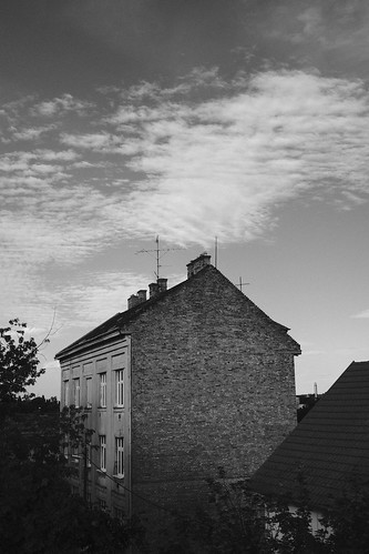 house & clouds