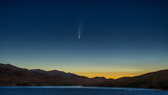 Comet NEOWISE Over Numbers Fire Smoke Before Dawn