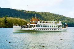 Photo of Swan approaching Bowness pier, 27th March 1999