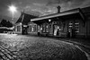 Kidderminster Severn Valley train station illuminated at night - B&W