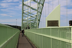 Photo of 11h July 2020. Morning Constitutional. Shared Carriageway. The Silver Jubilee Road Bridge, Widnes,  Lancashire.