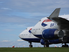 Photo of British Airways planes grounded at Cardiff Airport