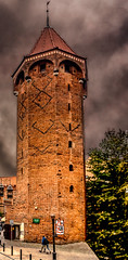 Multiphoto panorama of the Jacek Tower - a historic tower during the medieval fortifications of the Main Town of Gdańsk, Poland.  468-Pano-Edita