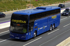 Photo of 54601 / YX68 UAJ - Volvo B11RT / Plaxton Elite I - Stagecoach Midlands - megabus -  M1 at Milton Keynes 11Jul20