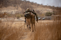 Burkinabe soldiers conduct presence patrols during Flintlock 20
