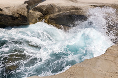 Waves hitting the rocks at Sarakiniko, Milos, Cyclades, Greece