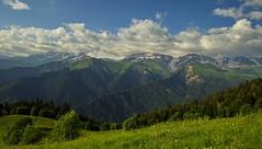 Mt. Karaugom & Boko Glacier, view from Glola - Lake Udziro trail, Racha, Georgia