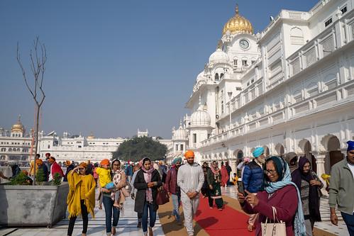 Amritsar India - Febuary 8, 2020: Crowds of people in the Sikh Golden Temple (sri harmandir sahib)