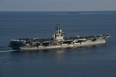 USS Nimitz (CVN 68) transits the Balabac Strait.