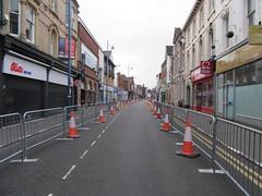 Photo of Stourbridge high street.  Deserted.