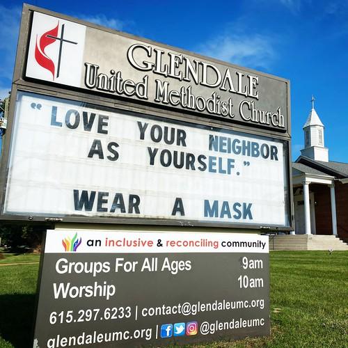 Wear A Mask #DoNoHarm  | Glendale United Methodist Church - Nashville Sign