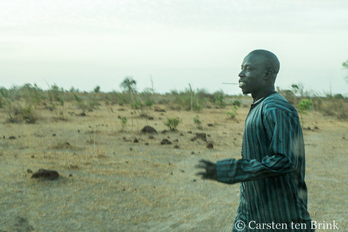 Near the laterite quarry - man walking with toothstick