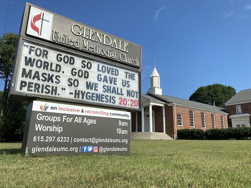 Wear A Mask #DoNoHarm Hygenisis 2020  | Glendale United Methodist Church - Nashville Sign