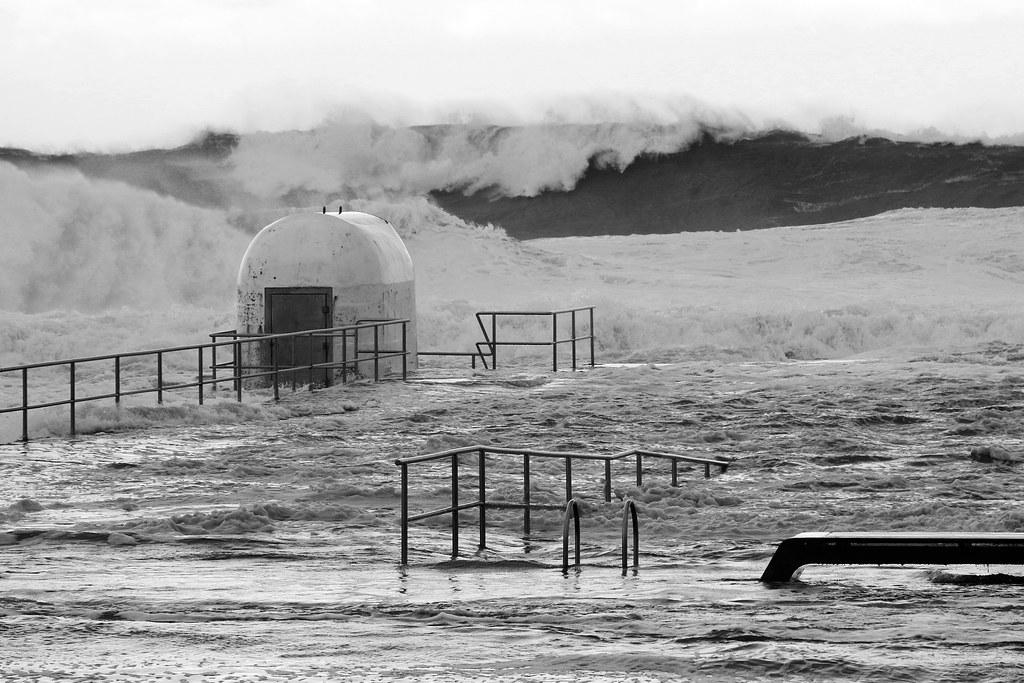 East coast low barrels into Merewether Ocean Baths
