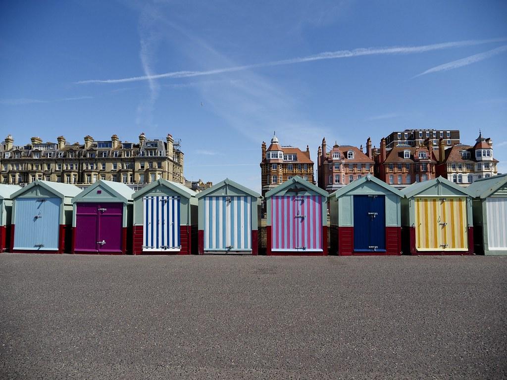 Colourful Hove beach huts