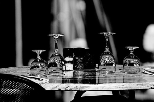 Glass on desk