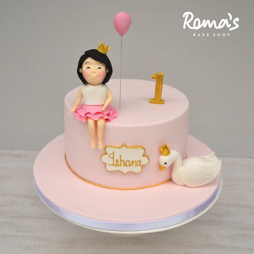 Princess and swan cake