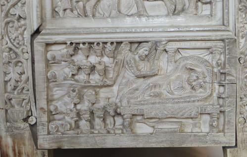 Vie de Joseph, chaire de l'évêque Maximien (vers 550), cathédrale de la résurrection de Notre-Seigneur, Ravenne, Emilie-Romagne, Italie.