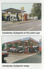 Photo of Apex (c.1987) & Burmah (c.1992), Camberley Heath Garage / Camberley Autopoint, Camberley, Surrey (extract from Burmah People magazine)