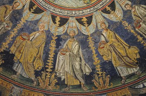 Apôtres, coupole, baptistère des Orthodoxes ou de Néon, IVe-Ve siècles, Ravenne, Emilie-Romagne, Italie.