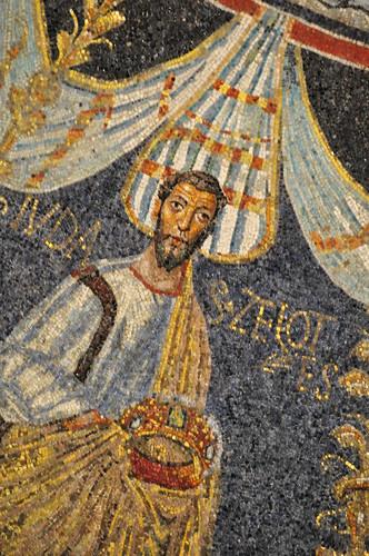 L'apôtre Jude, coupole, baptistère des Orthodoxes ou de Néon, IVe-Ve siècles, Ravenne, Emilie-Romagne, Italie.