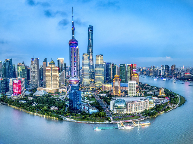 china shanghai shanghaishi cityscape pearl tower three sisters evening river treyratcliff stuckincustoms stuckincustomscom quadcopter drone