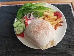 Photo of burger salad & chips