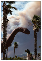 Cabazon Dinosaurs and Smoke from the Apple Fire