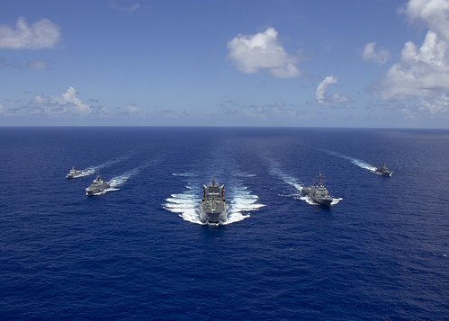 Ships from international navies transit the Pacific Ocean., From FlickrPhotos