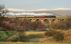 Photo of 60009 On Long Marton Viaduct. 16/11/1991.