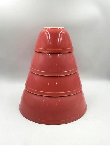 Set of 4 Vintage Gooseberry Pink Pyrex Bowls ($167.58)