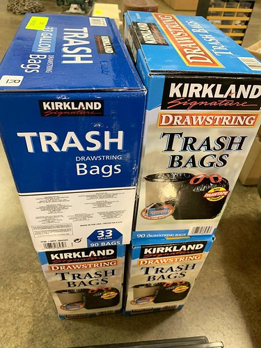 4 unopened boxes of Kirkland Trash Bags ($72.96)