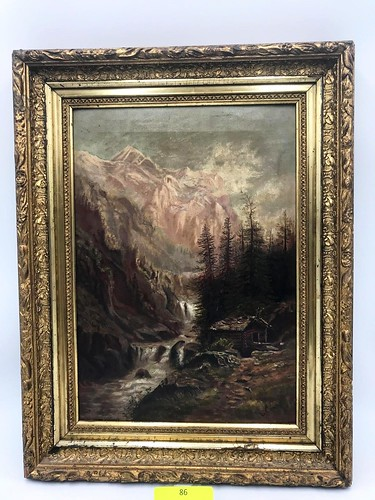 Antique Western Landscape Oil On Canvas Painting  ($126.54)