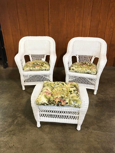 Pair White Wicker Chairs and Footstool ($517.56)