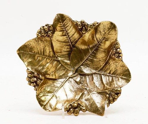 "Virginia Metalcrafters 1953 ""Lemon Leaves"" Brass Leaf Bowl 4-35 ($102.60)"