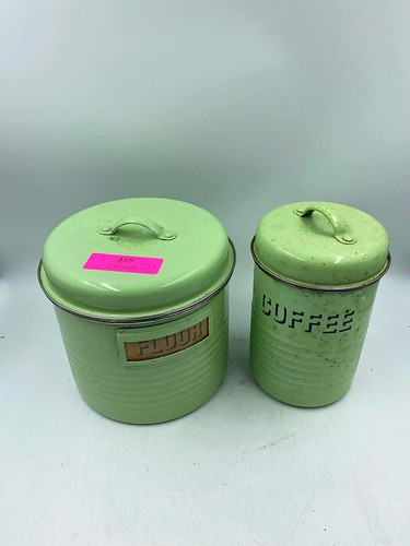 Vintage kitchen flour & coffee canisters ($61.56)