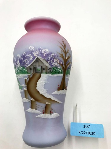 "Fenton ""Winter"" Purple Burmese Vase ($106.02)"