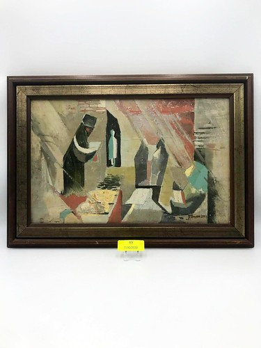 Mid Century Abstract Oil On Canvas Painting  ($123.12)