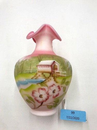 """Fenton """"Spring"""" Pink Burmese Vase ($100.32)"""