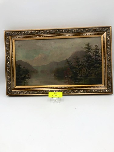 Antique River & Mountain Scene Oil Painting ($125.40)