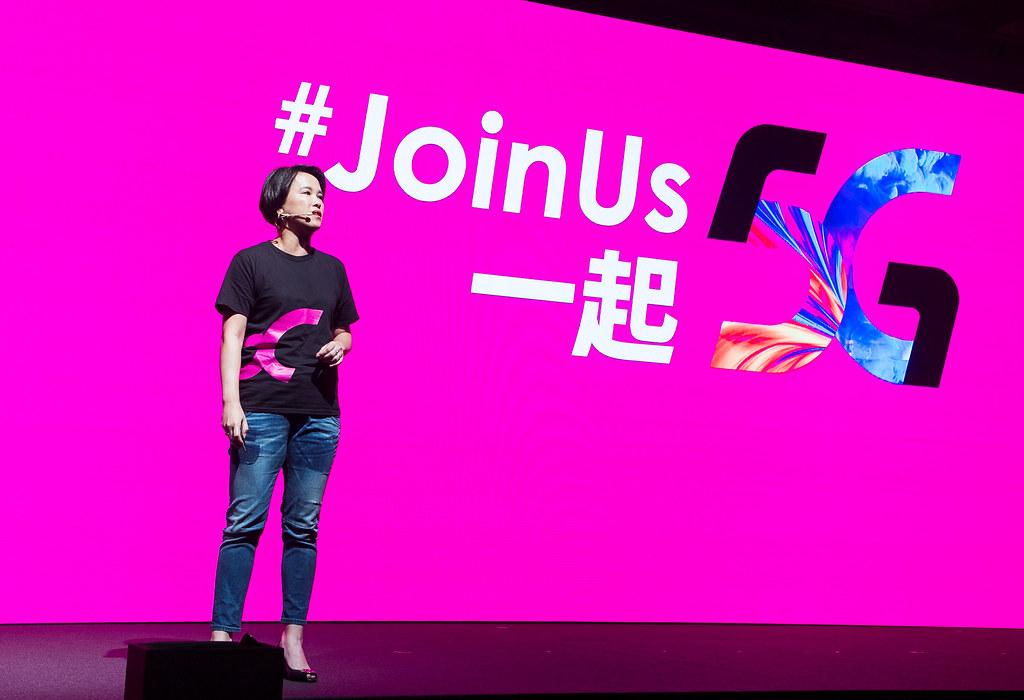 台灣之星行銷事業部資深副總經理-朱曉幸,發表推出全新年度品牌主張「#JoinUs 一起5G」,並挑戰市場最低5G資費門檻 ,迎向「全民5G」月租$399起(圖由台灣之星提供) (1)