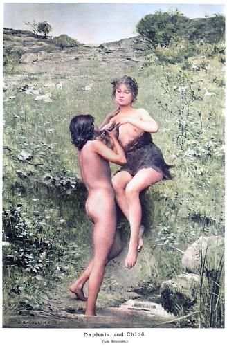 Louis-Joseph-Raphaël Collin (1850-1916) - Daphnis and Chloë (At the Fountain) (c1890) (colorized)