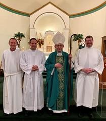 Bishop Persico with Ben Daghir, Chris Wheeler and Nick Fratus - Candidacy Mass 8/1/2020 - St Gregory Parish