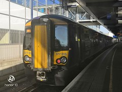Photo of Southeastern electrostar 377515 sits at Ashford International Station before heading to London Victo