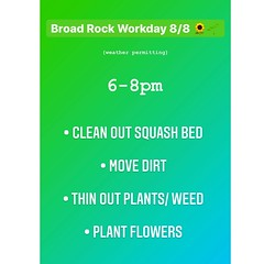 We've been conscious about keeping the workdays small and intentional. Mainly because our space needs love and genuine support. We would like to send a reminder for those that would like to come get their hands and feet dirty that we are at @broadrock_com