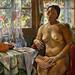 ALIX AYMÉ (1894-1989) - Nu assis à l'éventail, dans l'atelier de l'artiste à Hanoï, circa 1935