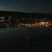 Aerial view of Grand Marais harbor at night