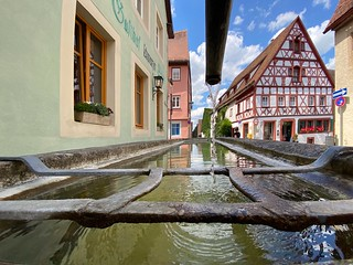 Rothenburg o.d. Tauber - View of the fountain in the Judengasse