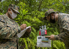 Task Force Koa Moana monitor climate data to determine the effects of weather conditions on personnel in Peleliu, Palau.