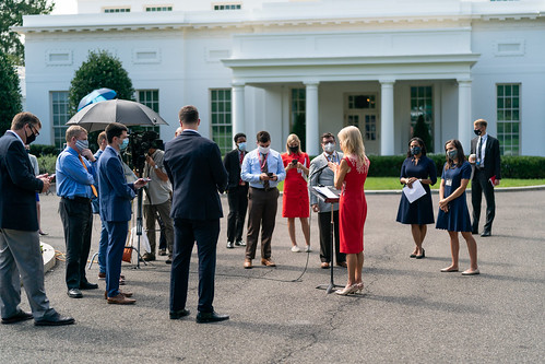 Kellyanne Conway Speaks with Reporters by The White House, on Flickr